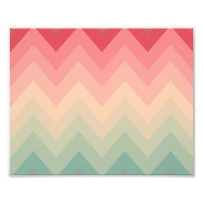 Patroon van de Chevron Ombre van de pastelkleur he Foto Prints