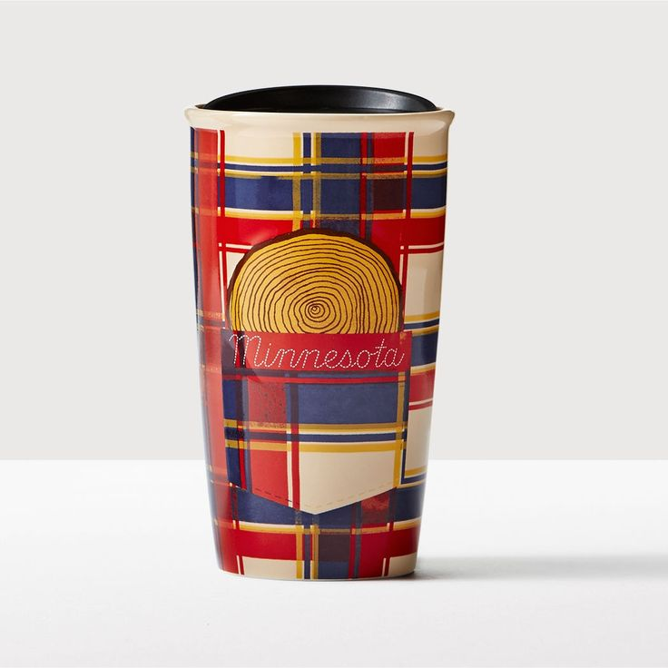 Minnesota Double Wall Traveler. A double-walled ceramic mug with flannel art inspired by an American folk hero celebrated in Minnesota.