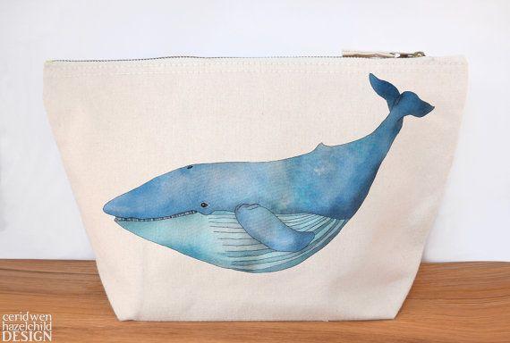 Blue Whale Canvas Wash Bag Large Zipper Pouch Makeup Bag Toiletry Bag Accessory Bag by ceridwenDESIGN http://ift.tt/22JuxF8