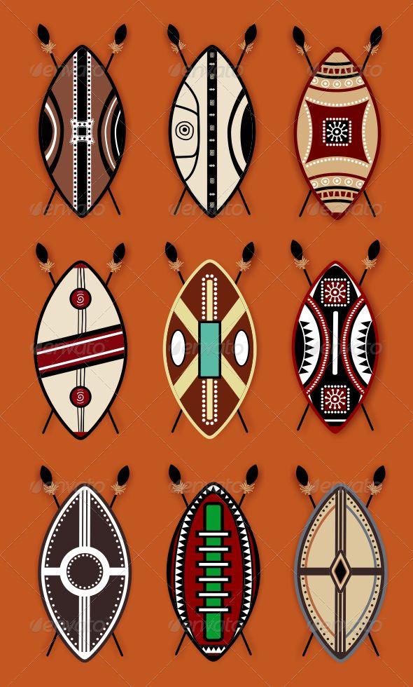Masai Shield Vector Designs  For download - http://graphicriver.net/item/masai-shield-vector-designs-/7956010?WT.ac=portfolio&WT.z_author=ragerabbit
