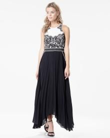 Pleated maxi dress with lace applique, RW & Co, Kingsway Mall