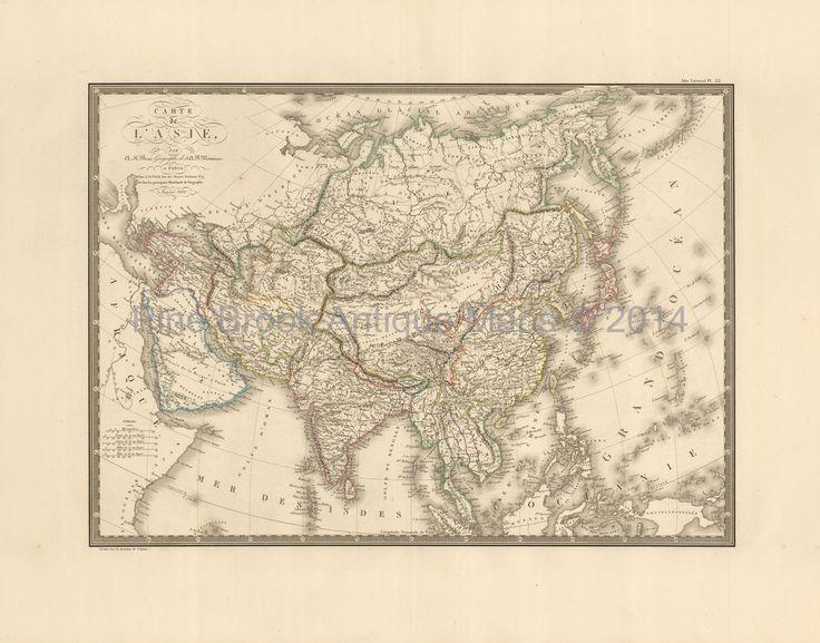 Pine Brook Antique Maps - Asian Continent Antique Map Brue 1827, $124.99 (https://www.pinebrookmaps.com/asian-continent-antique-map-brue-1827/)