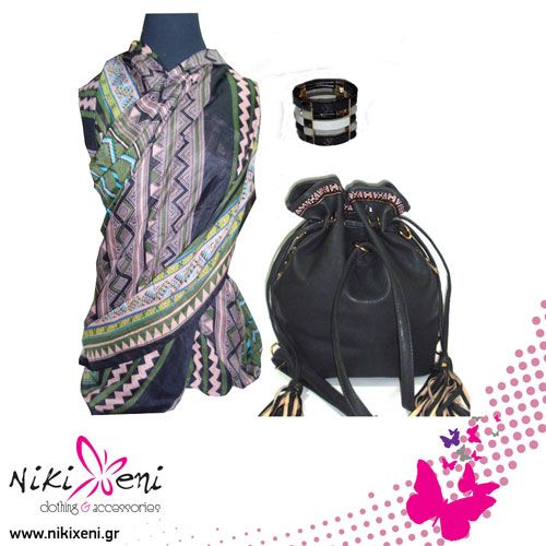 Duffel bag with side tassels, long and wide scarf with geometrical pattern and elastic bracelet._fashion woman accessories.