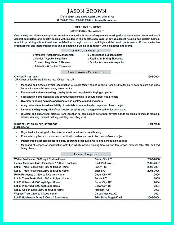 25 best cv images on Pinterest Project manager resume, Resume - superintendent resume