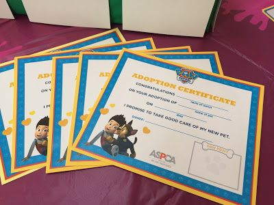 FREE PRINTABLE Adoption Certificate - Paw Patrol Birthday Party