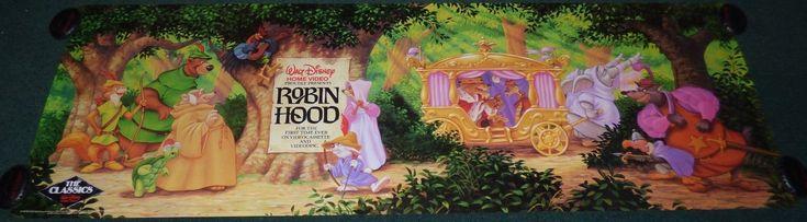 WALT DISNEY ROBIN HOOD ORIGINAL 1980s ROLLED VHS HOME VIDEO BANNER MOVIE POSTER   eBay