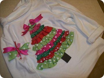 Christmas tree shirt: Sewing, Crafts Ideas, Christmas Crafts, Trees Shirts, Christmas Shirts, Ribbons Christmas, T Shirts, Christmas Trees, Diy Christmas