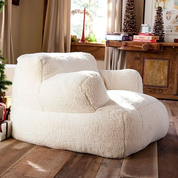 PB Teen Sherpa Eco Lounger, Single ($249) ❤ liked on Polyvore featuring home, furniture, chairs, accent chairs and white
