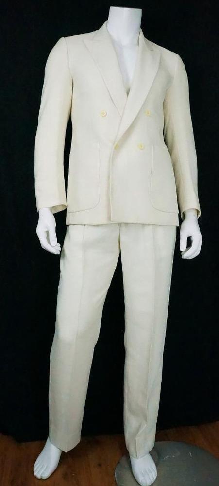 Vtg Pierre Cardin Paris Miami Vice Suit Pleated Front Ivory Linen sz 39R 33 X 32 #PierreCardin #DoubleBreasted