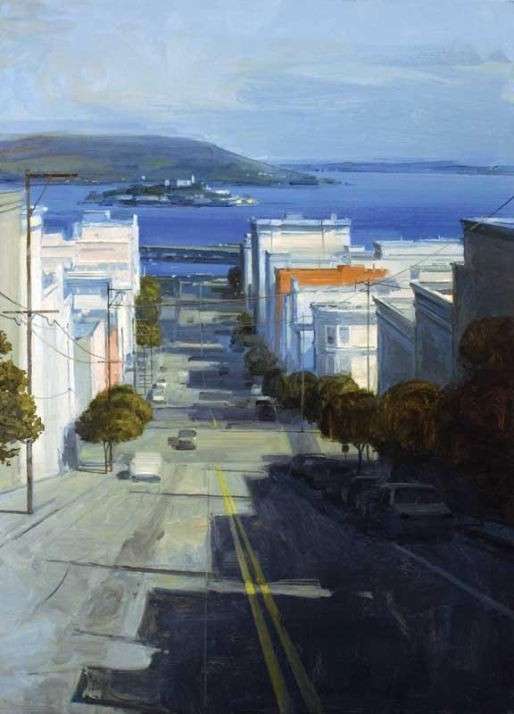 Beautiful San Francisco art poster by: Gilles Marrey (Wayne Thiebaud)