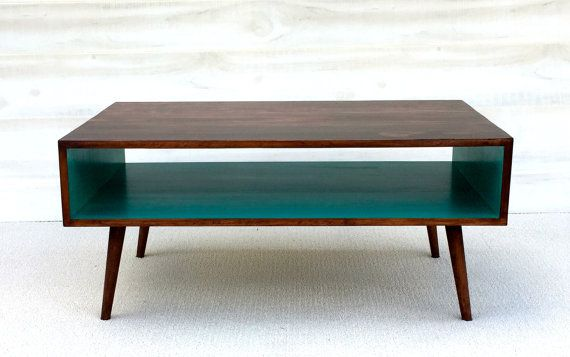 Coffee Table Mid Century Modern in Chery and Teal  Coffee Table Pictured L 40 x W 22 x H 18 or 16 Shelving Space: 6.5 x 22  Our handcrafted