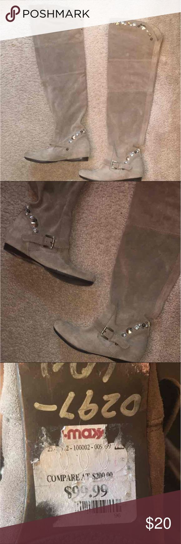 Over the knee brown suede boots Brown suede w/ stoned across knee and ankle area (none are missing) brand new condition, worn once Shoes Over the Knee Boots