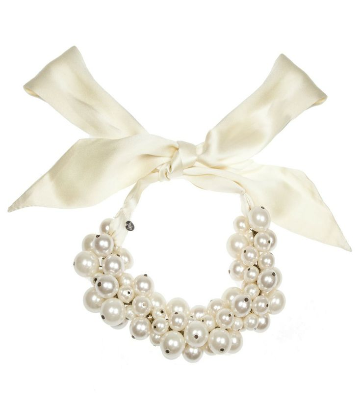 Alannah Hill - I Collect People Necklace A multitude of pearls on a silk sash neck tie. silk ribbon with pretty creme white pearls so devine for a wedding or special occasion!