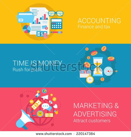 Accounting marketing advertisement concept flat icons set of time is money profit finance tax and vector web banners illustration print materials website click infographics elements collection