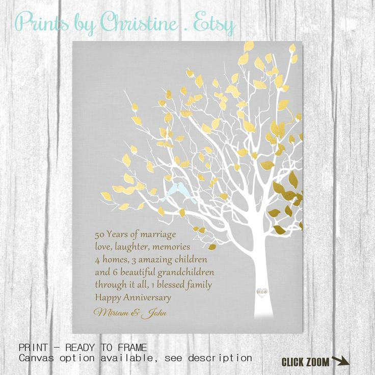 Golden Anniversary Family Tree Print Personalized 50th Anniversary Gift for Parents Customized Keepsake Gift Love Story Faux Gold Gray by PrintsbyChristine on Etsy https://www.etsy.com/ca/listing/251901841/golden-anniversary-family-tree-print