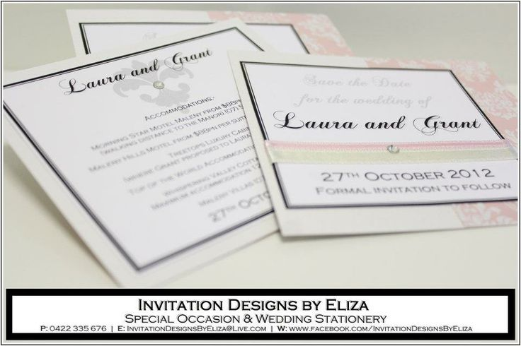 Save the Date & Accommodation Information Designs  {Wedding} Pale Pink, Pale Yellow & Pearl Theme www.facebook.com/InvitationDesignsByEliza