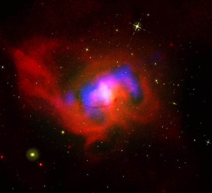 The Arrhythmic Beating of a Black Hole Heart At the center of the Centaurus galaxy cluster there is a large elliptical galaxy called NGC 4696. Deeper still there is a supermassive black hole buried within the core of this galaxy. New data from NASAs Chandra X-ray Observatory and other telescopes has revealed details about this giant black hole.