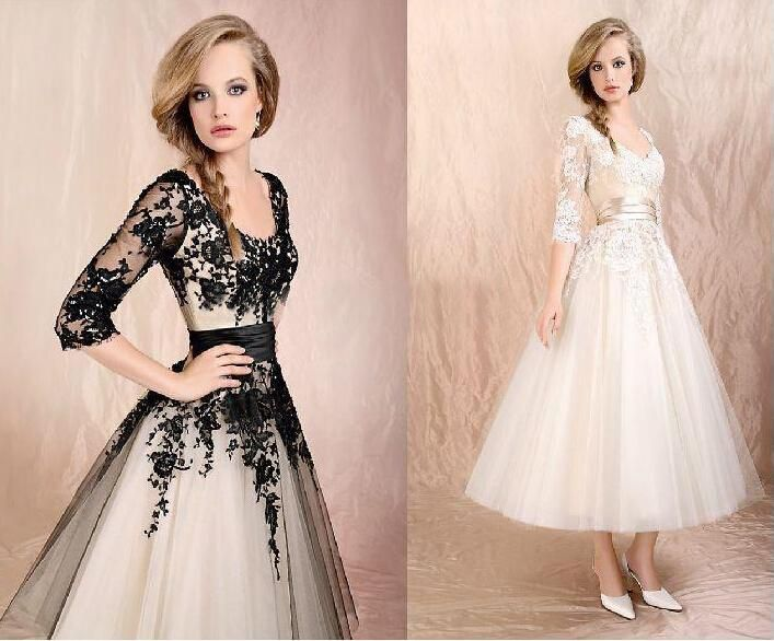 Wholesale budget wedding dresses, chiffon wedding dresses and custom made wedding dresses on DHgate.com are fashion and cheap. The well-made 2016 black white in stock cocktail dresses a-line crew black appliques 3/4long sleeve tea-length promevening dresses short party dress sold by dress_beautiful is waiting for your attention.