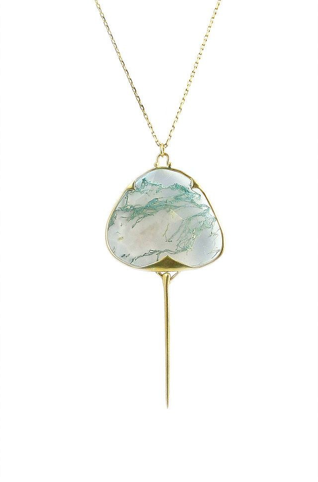 Stingray pendant in 18k gold with moss agate, price upon request; Rachel Atherley