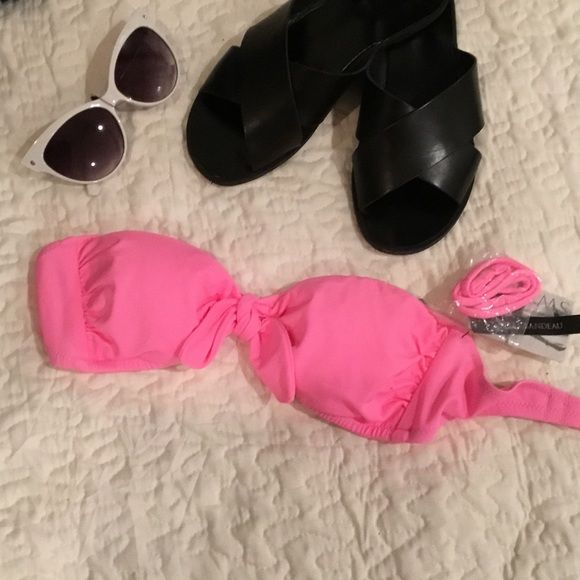 Pink bandeau bikini top Never worn with tags and removable straps and removable padding Victoria's Secret Swim Bikinis