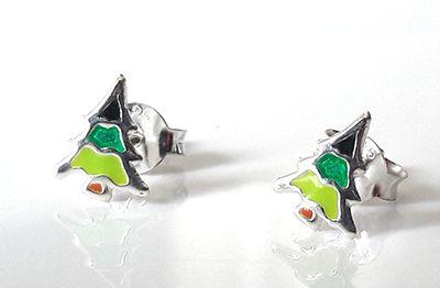 Silver and Enamel Christmas Tree Studs