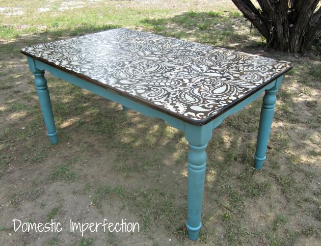 Stenciled table . domesticimperfection.com