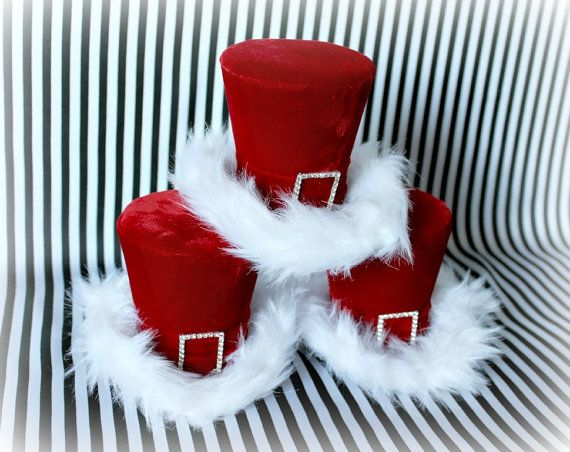 Holiday Hat, Christmas Hat, Holiday Party Hat, Red Mini Top Hat, Mad Hatter Top…