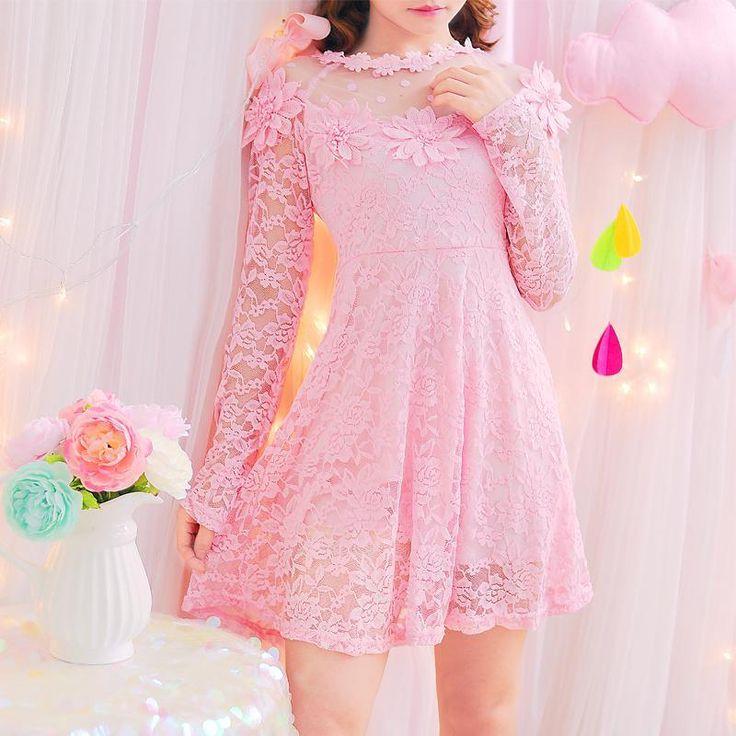 Pastel pink kfashion anime aesthetics kawaii dress