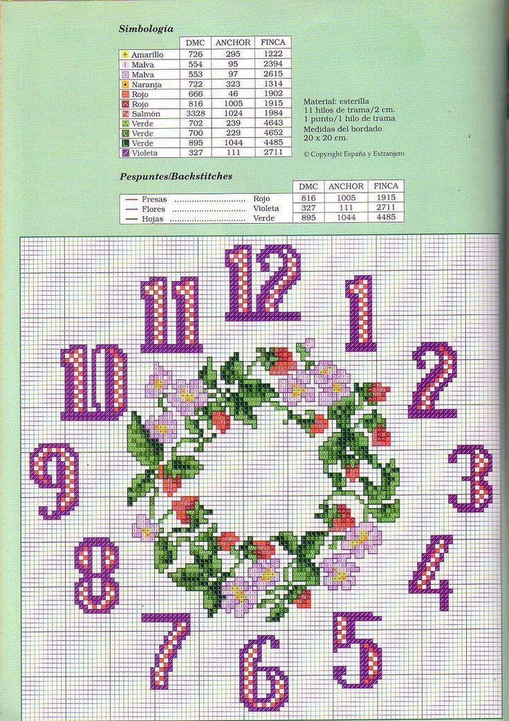 Schemi a punto croce gratuiti per tutti: Orologi a punto croce sul rosa