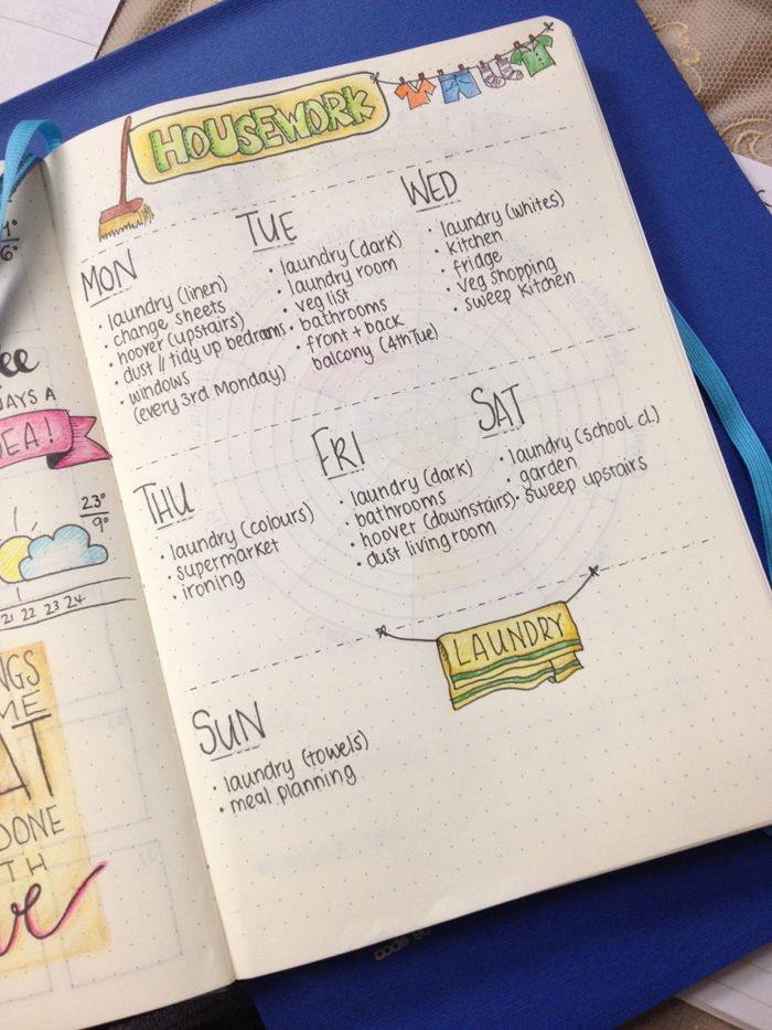 Housework Weekly Schedule for Bullet Journals - christina77star.co.uk