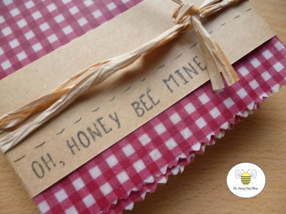 Red Rosy Gingham  Reusable Beeswax Food wrap by OhHoneyBeeMine