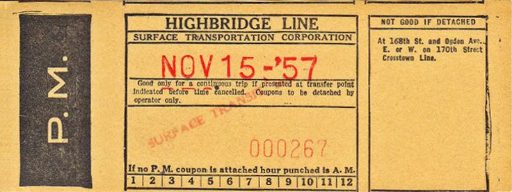 Surface Transit, Inc. (Bronx borough, New York City) Note that route number does not appear on this form, unlike all others of this series. (Route was sometimes designated Bx49, sometimes Bx50.) (1957)