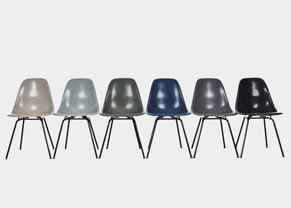 Vintage Eames DSX Set (Greige, Sea Foam Green, Olive Green Dark, Navy Blue, Elephant Hide Grey, Black) www.joink.nl
