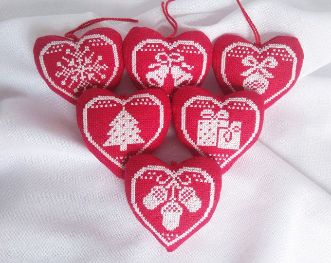 Set of christmas toys Christmas tree decor Xmas accessory Embroidered toy Xmas ornament Cross stitch heart Hanging toy White red heart Gift