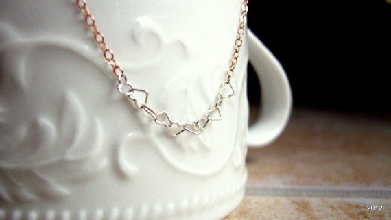 Tiny Hearts Necklace Rose Gold Necklace by BellaDonnaJewelryCo, $20.00