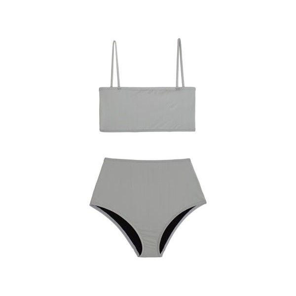 Nu Swim Grey Straight Top Bikini (€135) ❤ liked on Polyvore featuring swimwear, bikinis, high-waisted swimwear, high rise bikini swimwear, high waisted two piece, bandeau swimwear and bikini swimwear