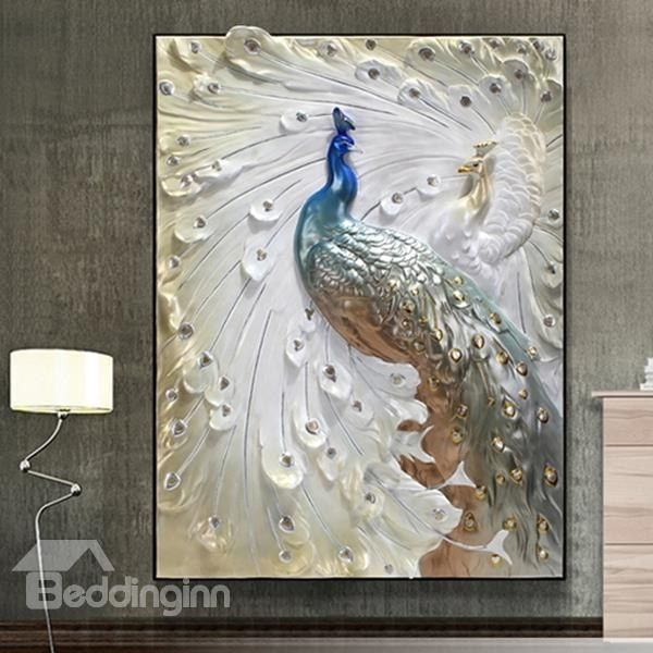 24×31in 3D Peacock Printed Hanging Canvas Waterproof And Eco Friendly  Framed Prints