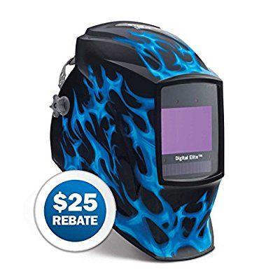 Auto Dark Welding Helmet, Blue Flame, Blue