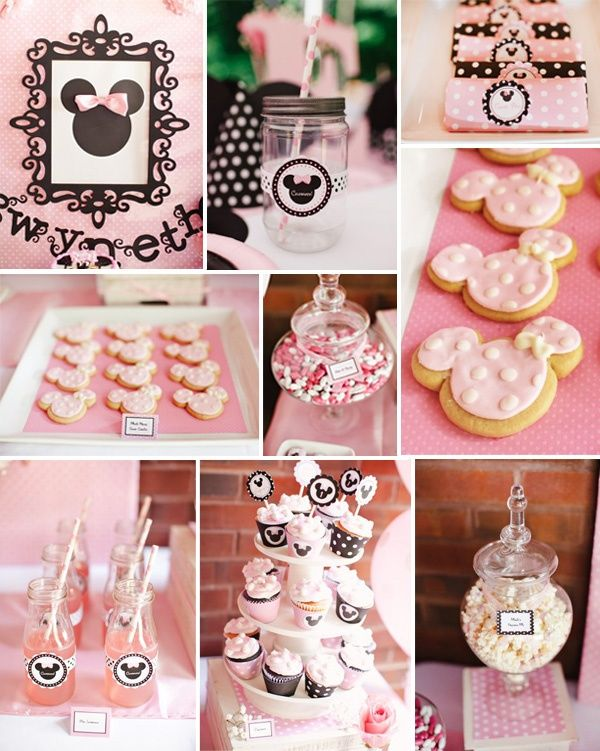 pink and black minnie mouse baby girl shower ideas