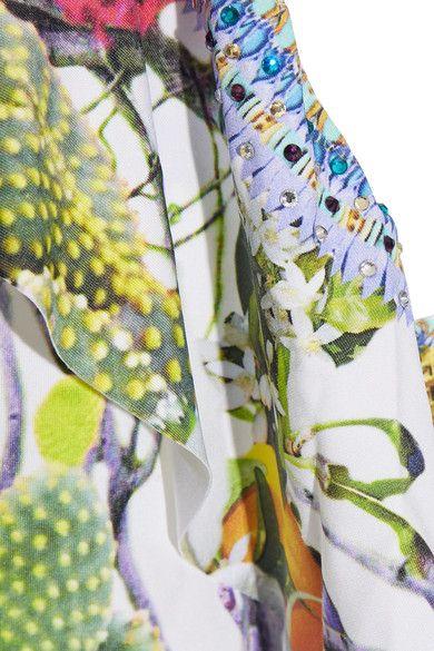 Camilla - Exotic Hypnotic Embellished Printed Halterneck Swimsuit - Green - UK
