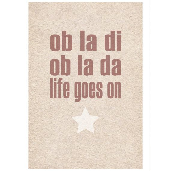 Beatles Lyrics Ob La Di typographic art by wallenvyartdigital, £14.00