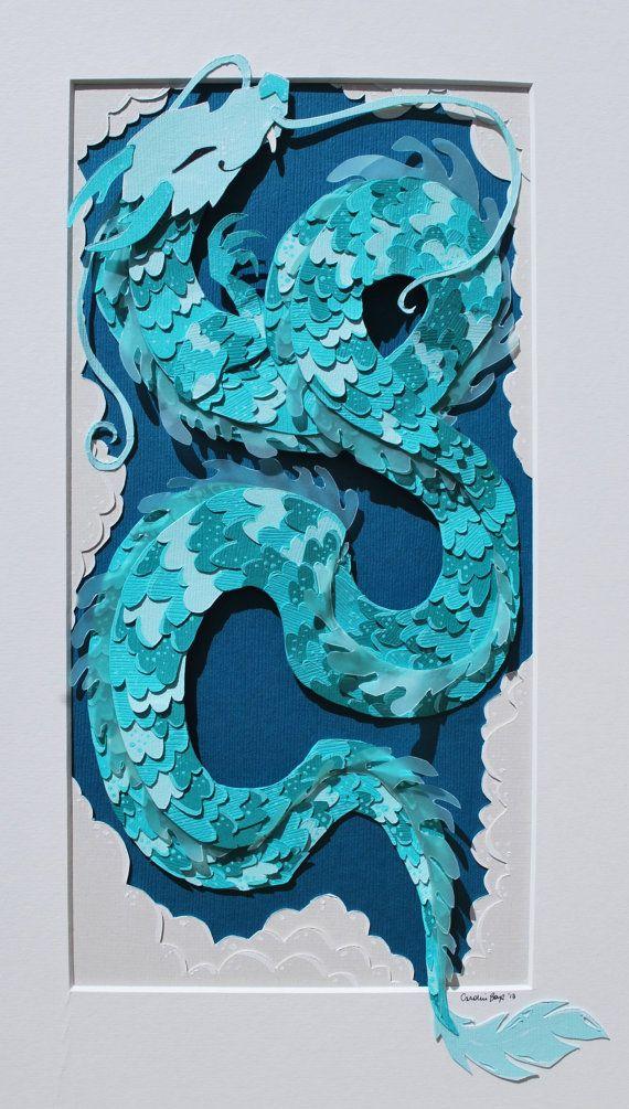 con piezas de puzzles--Chinese Dragon Paper Cut
