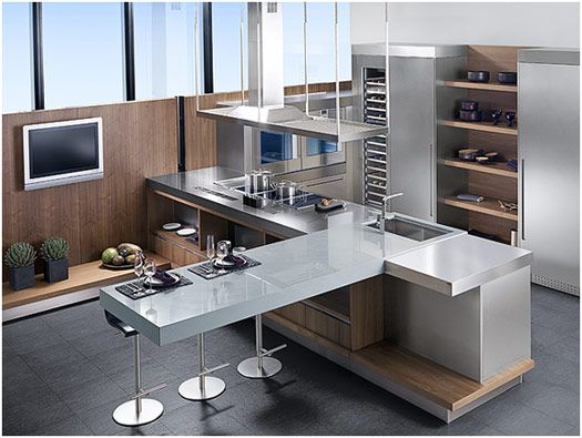 Stainless steel, wood and white kitchen