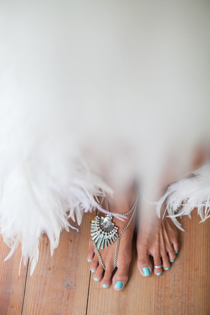 Barefoot, beach wedding. Dress and jewelry by Mytsah