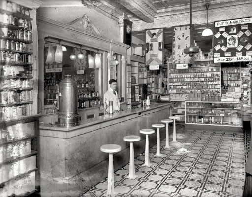 "Washington, D.C., circa 1920. ""People's Drug Store, 14th & U Streets, interior."" - Very cool!"