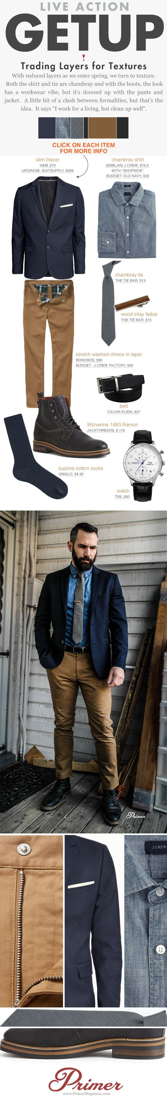 men's spring outfit ideas - chambray shirt chinos navy blazer black Wolverine boots