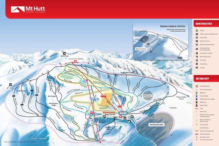 NL. Plattegrond van Mount Hutt FR. Carte du domaine skiable Mount Hutt DE.das Land des Mount Hutt. EN. Mount Hutt on a map