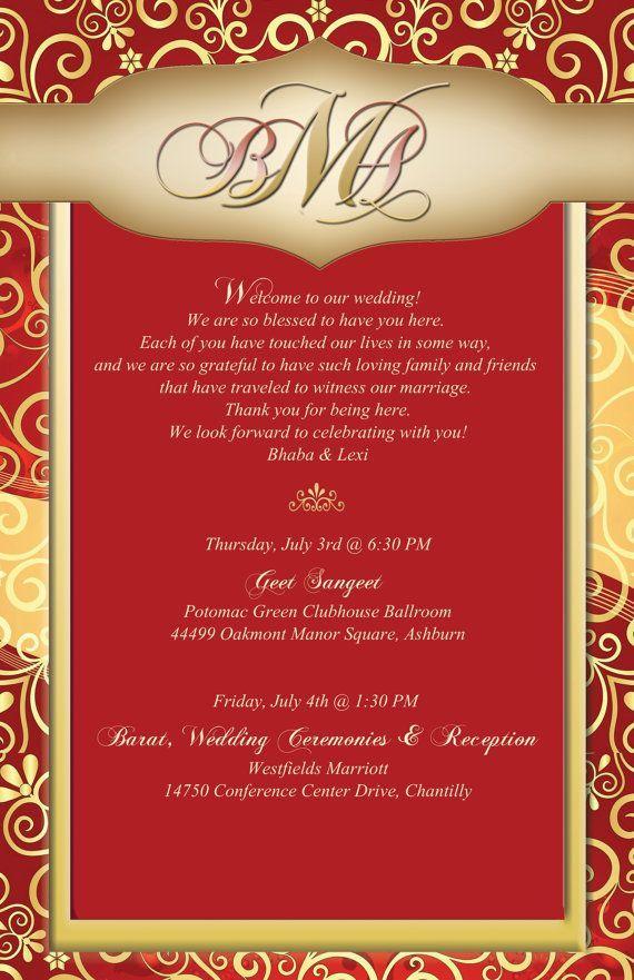 Custom Indian Inspired Design Wedding Itinerary By 4weddingwelcomebags Wedding Reception Invitation Wording Wedding Reception Invitations Marriage Invitations