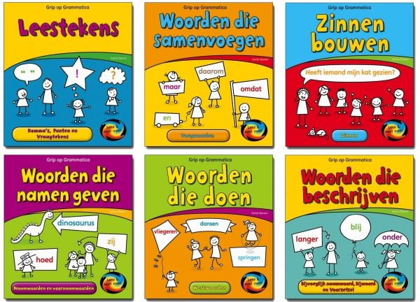 De serie Grip op Grammatica legt leerlingen van 7 tot 10 jaar op een eenvoudige manier de regels van de grammatica uit. Wat ze leren op een pagina, brengen ze direct in de praktijk met kleine oefeningen. Zo leren ze alles over voegwoorden, naamwoorden, werkwoorden, bijwoorden en leestekens.