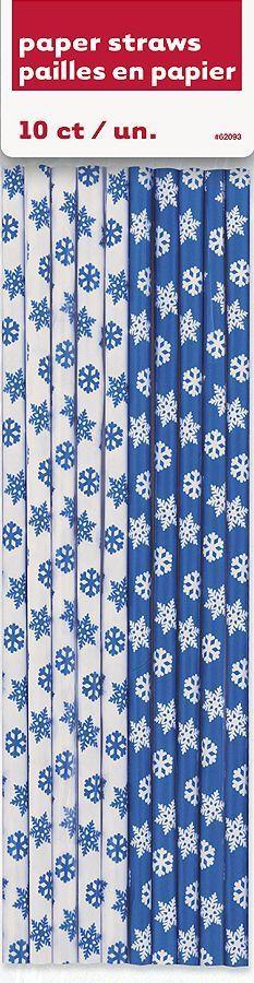 FROZEN Snowflake Paper Straws BIRTHDAY PARTY supplies favors